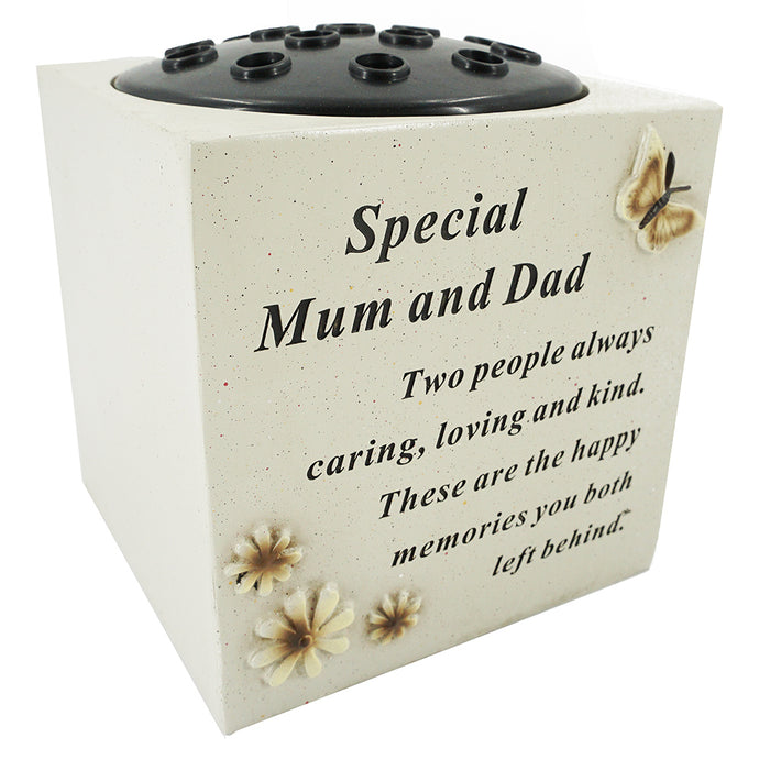Special Mum & Dad Butterfly & Flower Vase