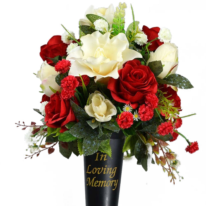 Liam In Loving Memory Grave Memorial Vase With Artificial Red Rose Flower Arrangement