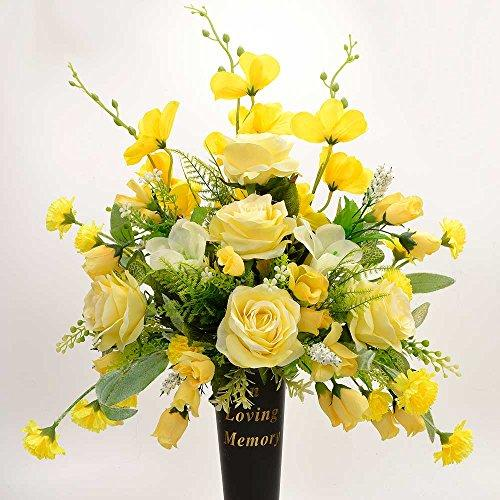 Petra In Loving Memory Yellow Memorial Artificial Flower Arrangement