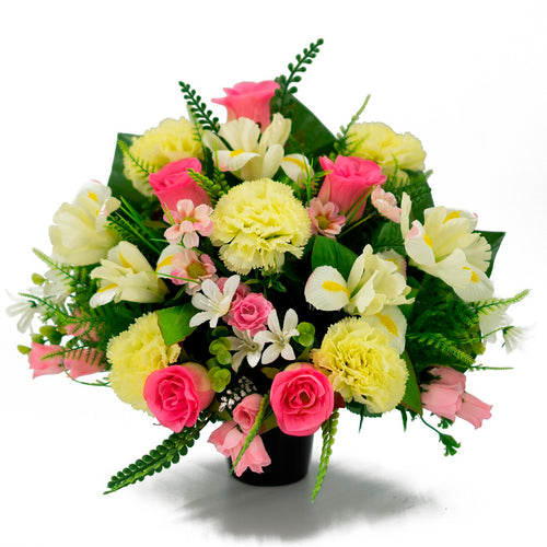Aubree Pink Rose Artificial Flower Memorial Arrangement
