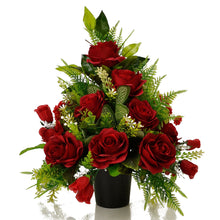 Load image into Gallery viewer, Dex Red Roses Artificial Flower Memorial Arrangement