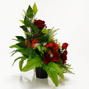 Dex Red Roses Artificial Flower Memorial Arrangement