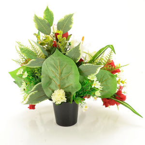 Freddie Red Rose & White Lily Artificial Flower Memorial Arrangement