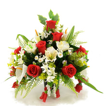 Load image into Gallery viewer, Freddie Red Rose & White Lily Artificial Flower Memorial Arrangement