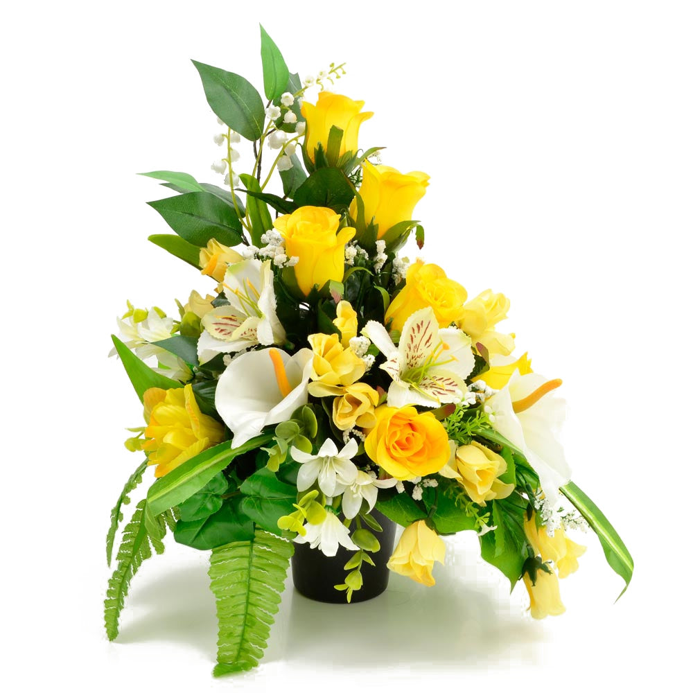 Lottie Yellow Rose Calla Lily Artificial Flower Memorial Arrangement