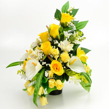 Load image into Gallery viewer, Lottie Yellow Rose Calla Lily Artificial Flower Memorial Arrangement