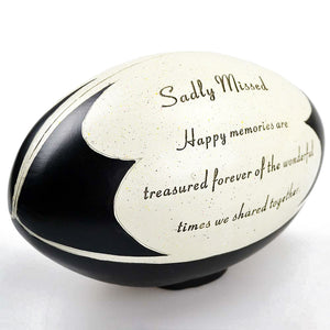 Sadly Missed Rugby Ball Sport Graveside Memorial Ornament Plaque
