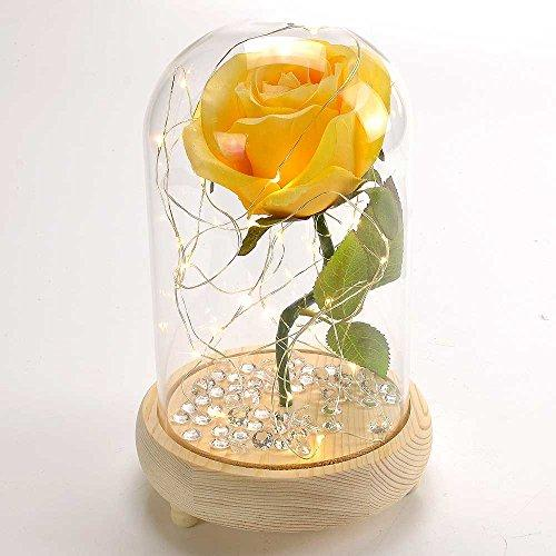Yellow Belle Handmade Enchanted Rose in Glass Dome Bell Jar with LED Lights