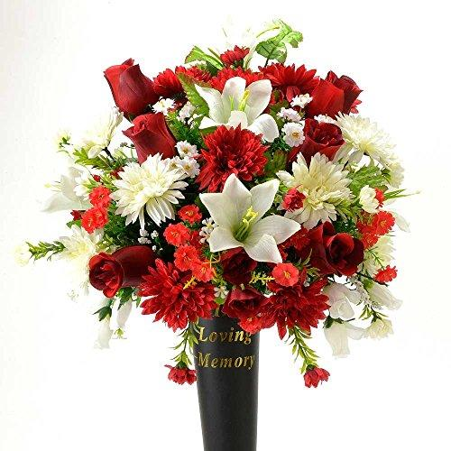 Sid In Loving Memory Red Rose Memorial Grave Vase Artificial Flower Arrangement