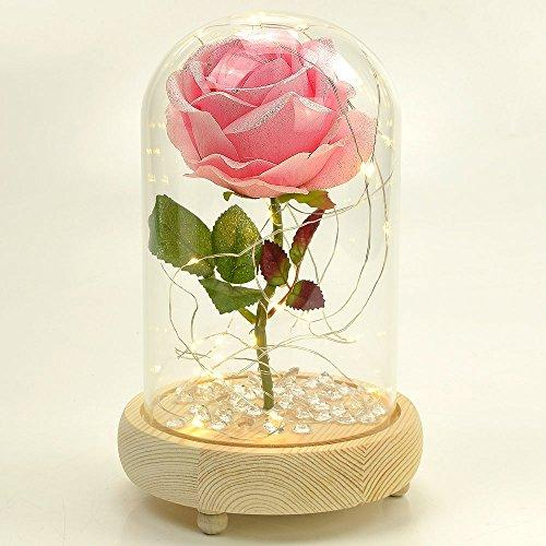 Pink Sparkle Handmade Enchanted Rose with Glass Dome Bell Jar and LED Lights (23cm) - Angraves Memorials