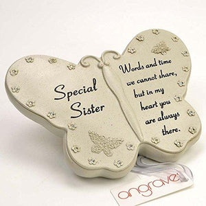 Special Sister Diamante Flower Butterfly Ornament