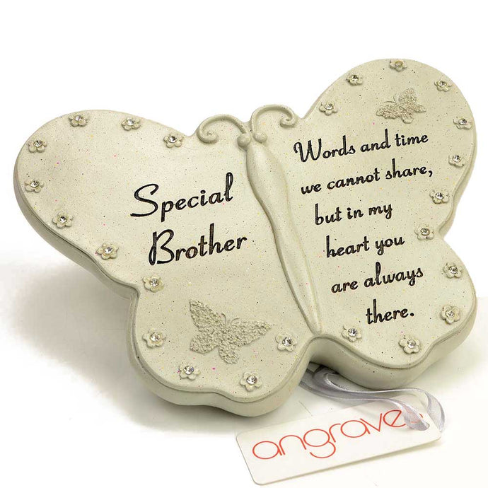Special Brother Diamante Flower Butterfly Ornament - Angraves Memorials