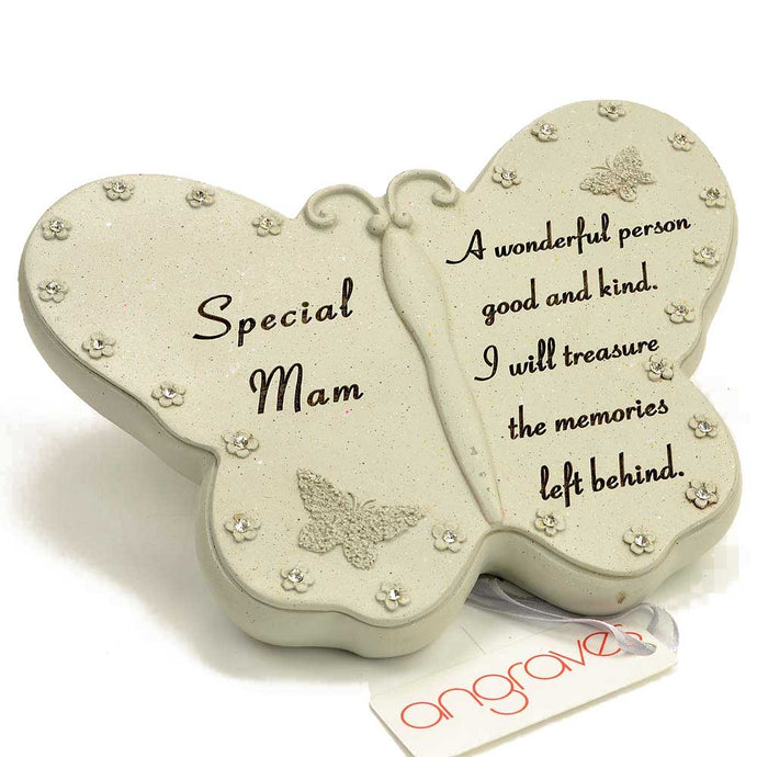 Special Mam Diamante Flower Butterfly Ornament - Angraves Memorials