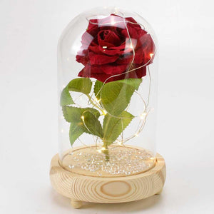 Red Velvet Handmade Enchanted Rose with Glass Dome Bell Jar and LED Lights (23cm) - Angraves Memorials