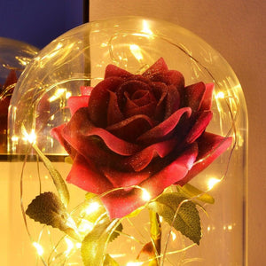 Glitter Pink Handmade Enchanted Rose with Glass Dome Bell Jar and LED Lights (23cm) - Angraves Memorials