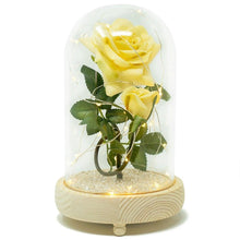 Load image into Gallery viewer, Bella Yellow Handmade Enchanted Rose & Rosebud with Glass Dome Bell Jar and LED Lights (23cm) - Angraves Memorials