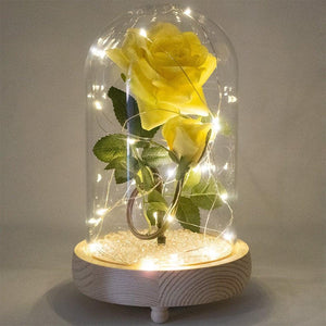 Bella Yellow Handmade Enchanted Rose & Rosebud with Glass Dome Bell Jar and LED Lights (23cm) - Angraves Memorials