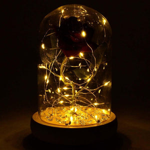 Handmade Magical Red Enchanted Rose in Glass Dome Bell Jar with Pretty LED Lights - Angraves Memorials