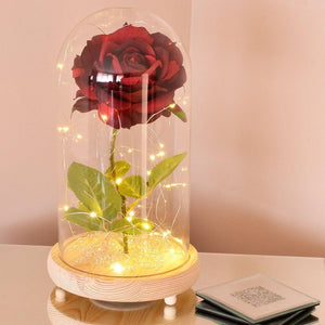 Extra Large Handmade Fairy Tale Enchanted Red Rose in Glass Dome Bell Jar Cloche with Magical Glow Lights (Perfect for Wedding Displays) - Angraves Memorials