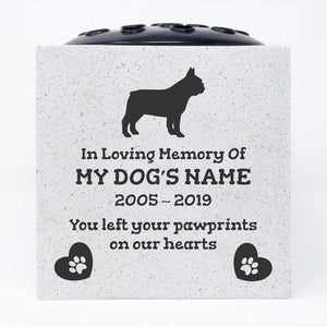 French Bulldog Personalised Pet Dog Graveside Memorial Flower Vase - Angraves Memorials
