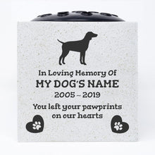 Load image into Gallery viewer, German Pointer Personalised Pet Dog Graveside Memorial Flower Vase - Angraves Memorials