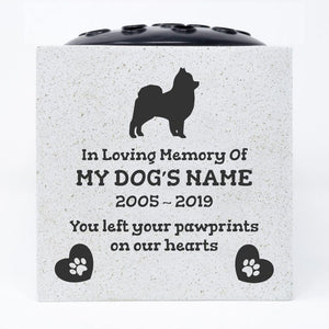 Pomeranian Personalised Pet Dog Graveside Memorial Flower Vase - Angraves Memorials