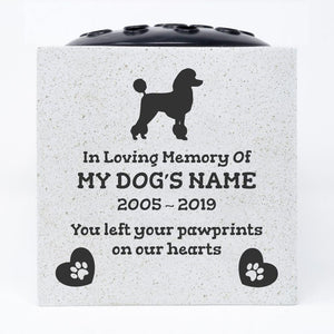 Poodle Personalised Pet Dog Graveside Memorial Flower Vase - Angraves Memorials