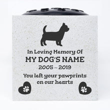 Load image into Gallery viewer, Yorkshire Terrier Personalised Pet Dog Graveside Memorial Flower Vase