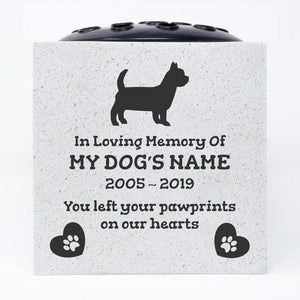 Yorkshire Terrier Personalised Pet Dog Graveside Memorial Flower Vase
