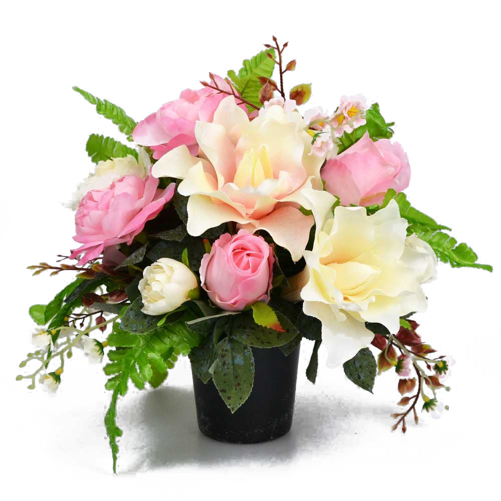 Greta Pink Lily & Roses Artificial Flower Memorial Arrangement