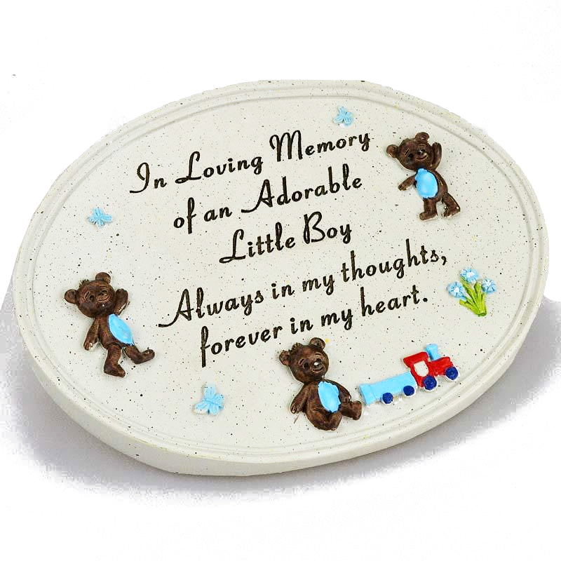 Adorable Little Boy Teddy Bear & Train Memorial Plaque