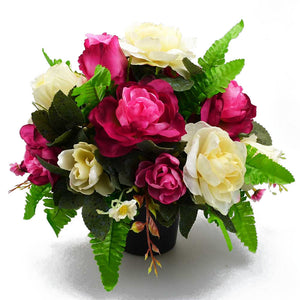 Rose Pink & Ivory Artificial Flower Memorial Arrangement