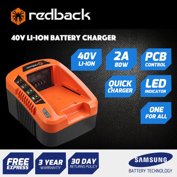 Redback 40V Battery Charger – 2A 80W – Suits Any Redback Battery
