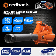 Redback 40V Cordless Blower With Turbo Boost Feature - Includes 4 Ah Battery & Charger