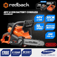 "Redback 40V Cordless 12"" Chainsaw W Oregon Bar & Chain With 4 Ah Battery & Charger"