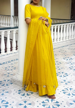 Vrinda Yellow Sequence Dupatta
