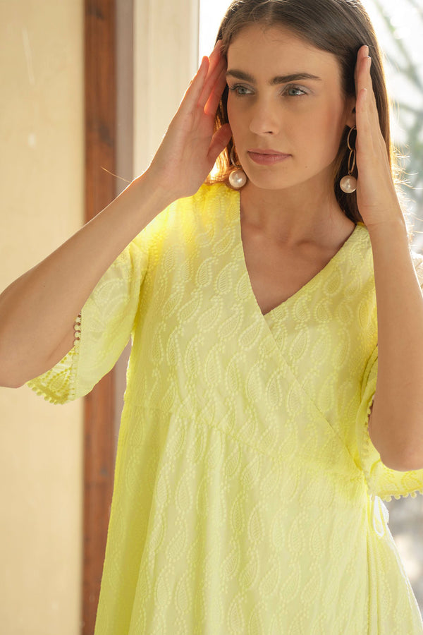 NOUSHIN - YELLOW EMBROIDERED DRESS