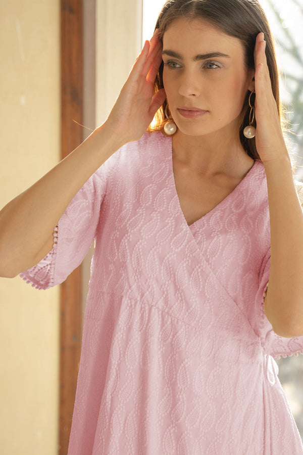 NOUSHIN - PINK EMBROIDERED DRESS