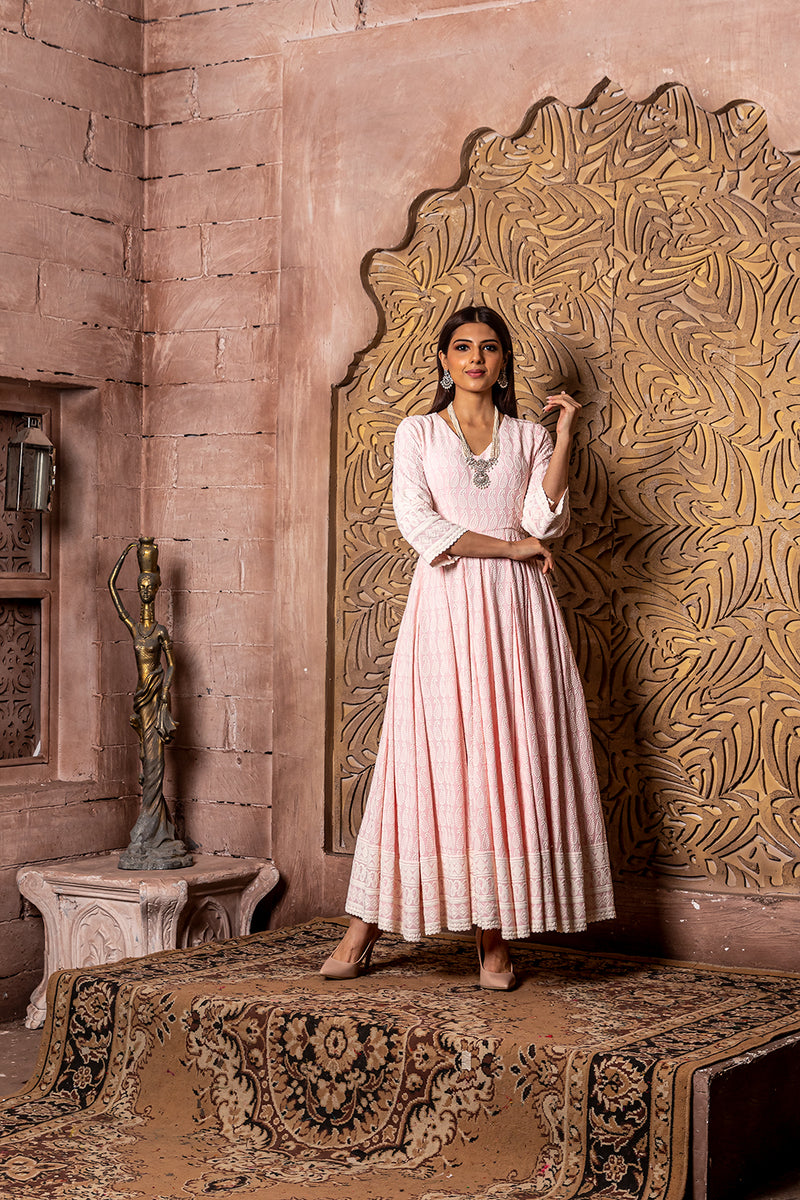 Falak- EMBROIDERED Pink Dress