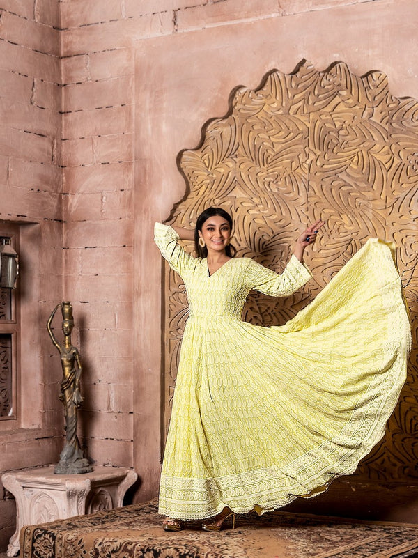 Falak-Long Anarkali Sunshine Yellow Dress