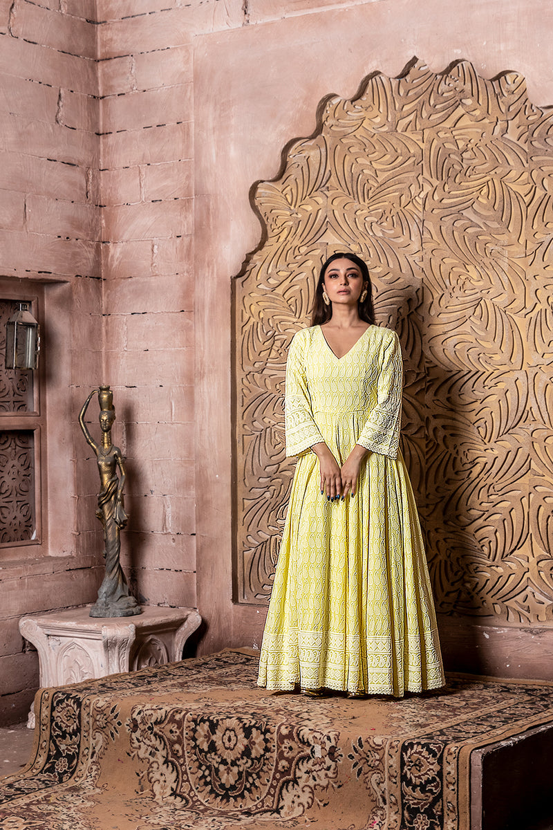 Falak-Yellow Embroidered Dress