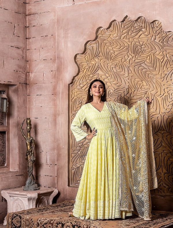 Falak-Long Anarkali Sunshine Yellow Dress with Embroidered Dupatta
