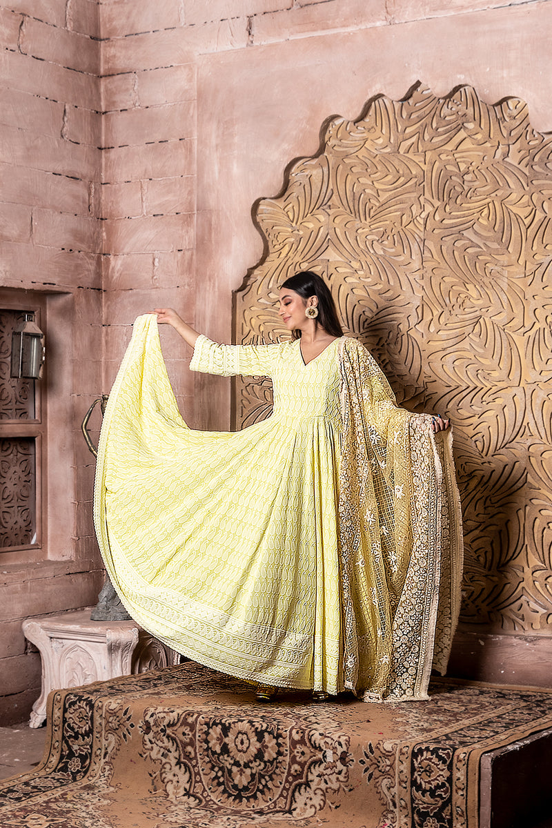 Falak - Embroidered Dress & Dupatta