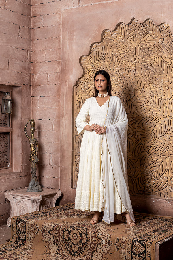 Falak-Long Anarkali Dress with Dupatta