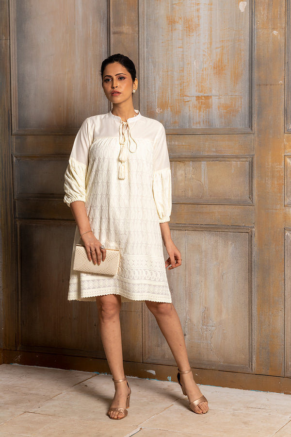 MISAKI- CHIKANKARI BOHO DRESS WITH CHANDERI YOKE