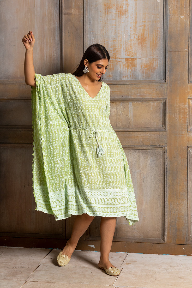 Ada-Chikankari Pista Green Kaftan Dress