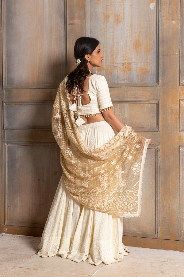 Mallika-Embroidered  Cream Lehenga Choli Dupatta (3 piece  set)