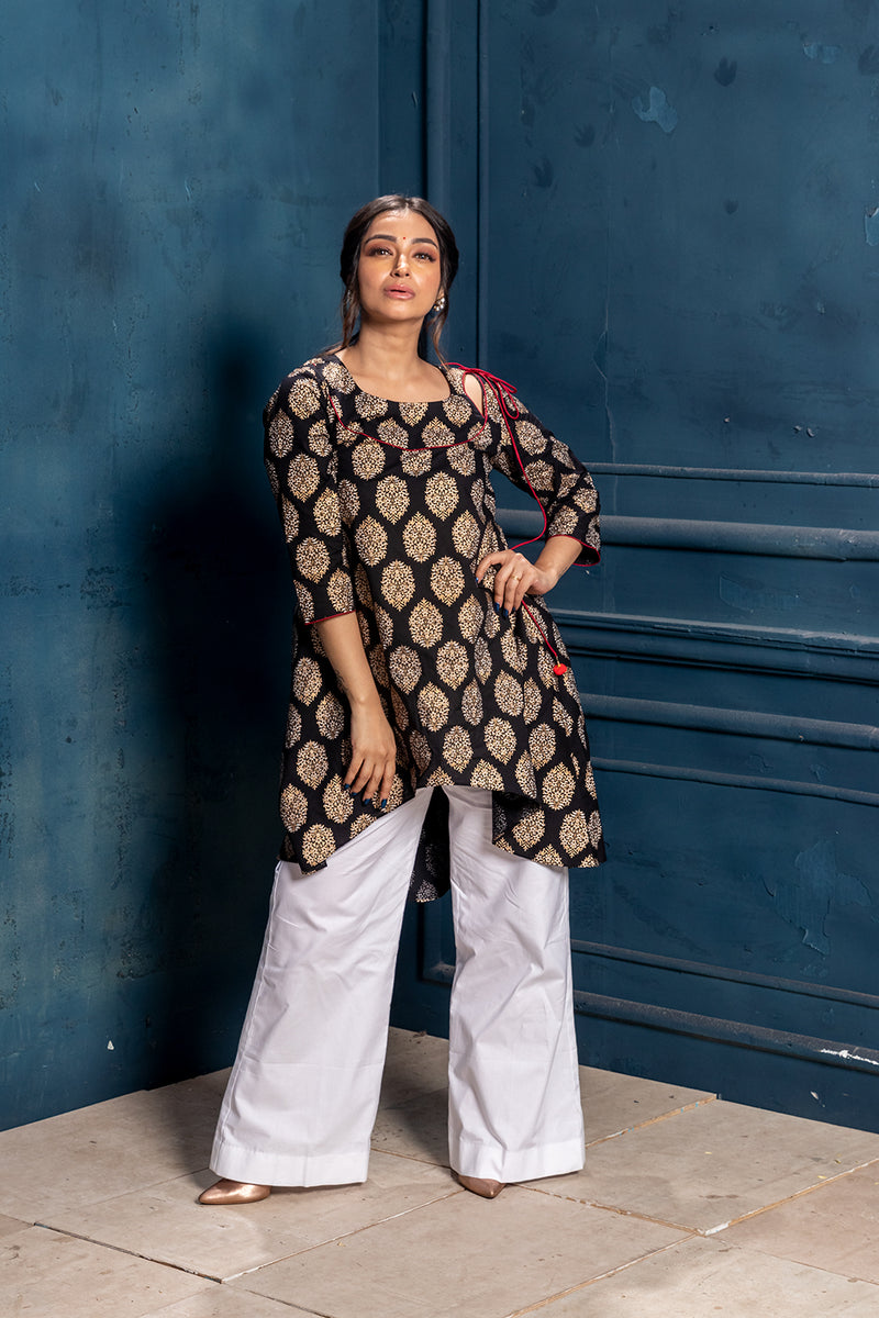 Dhvani- Black & Gold Kurta (1 piece)