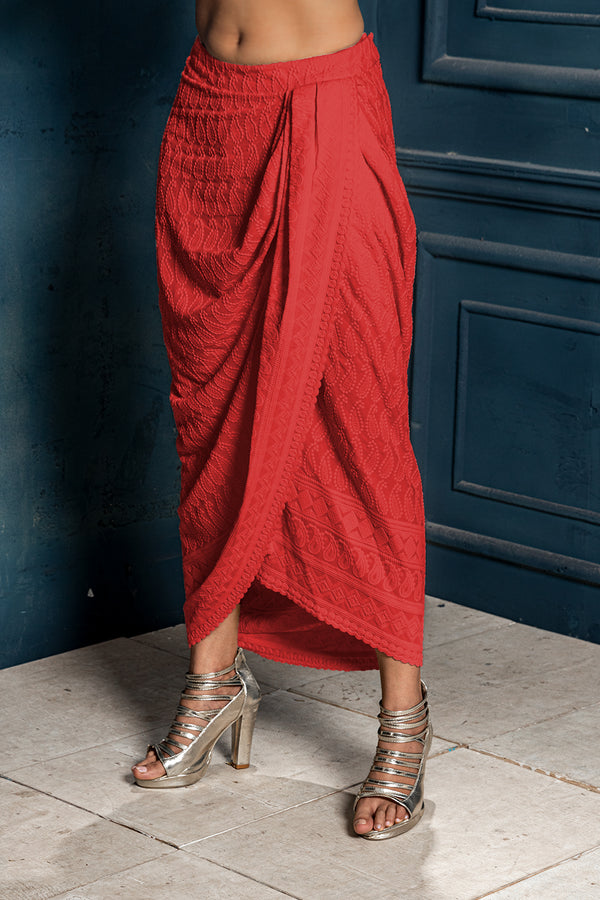 Mastani- Red Embroidered Dhoti