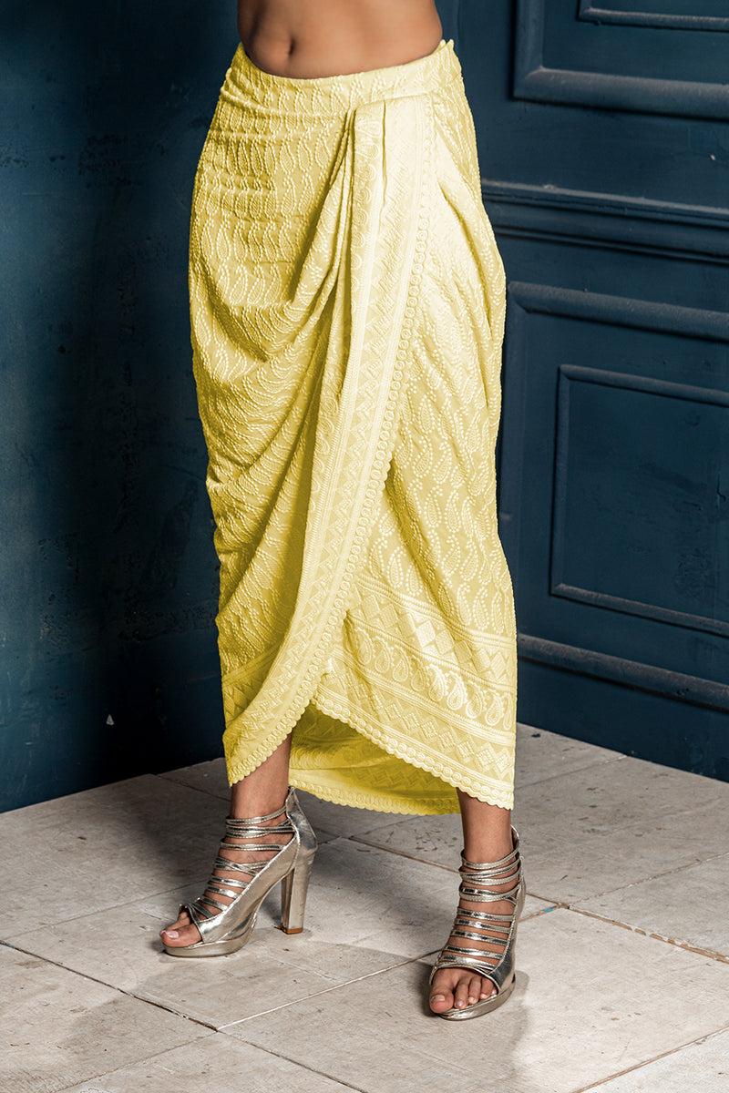Mastani - Embroidered Dhoti - Yellow